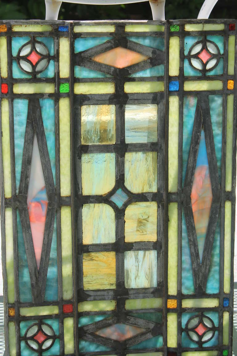 Victorian era leaded glass window set at 1stdibs for Victorian era windows