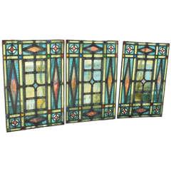 Victorian Era Leaded Glass Window Set