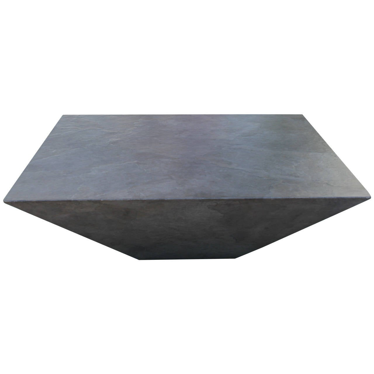 Slate And Glass Coffee Table For Sale: Midcentury Geometric Faux Slate Coffee Table At 1stdibs
