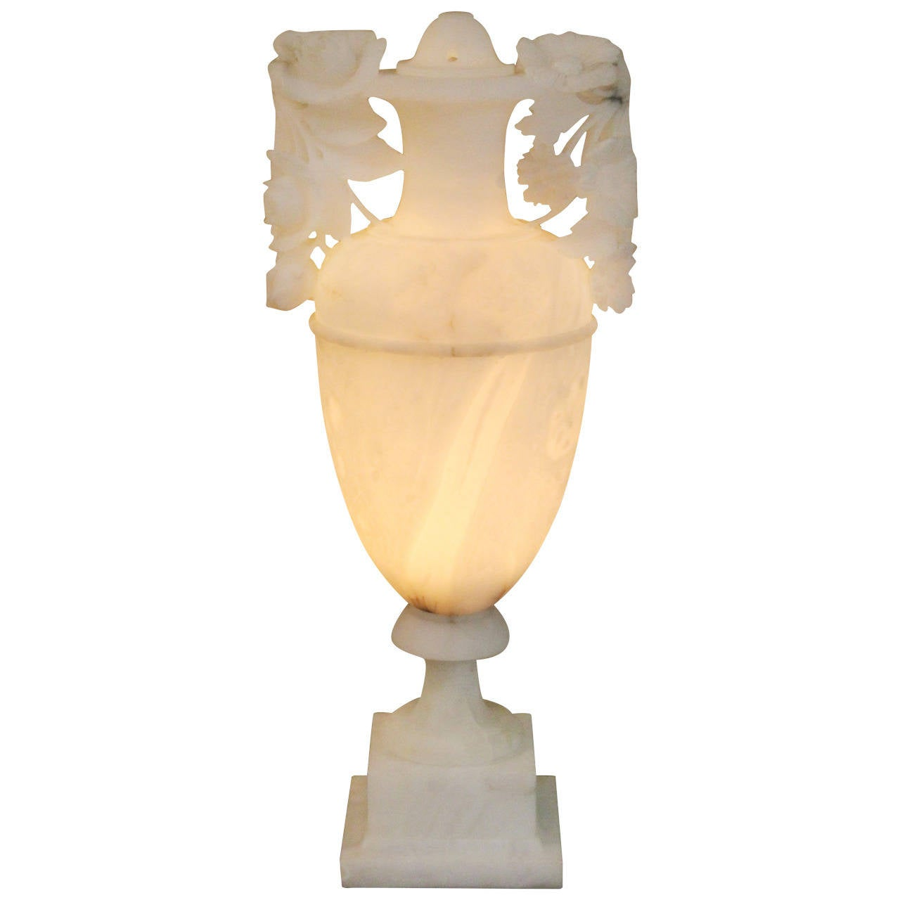 Vintage Carved Italian Alabaster Urn Lamp For Sale At 1stdibs