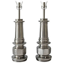 Pair of Chrome Lamps by the Stiffel Lamp Co.