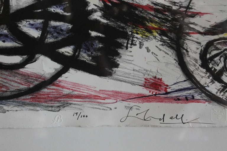 Frank Lobdell lithograph number 19/100. By 3 EP Press (Three equal partners press). An Abstract Expressionist painter, printmaker and teacher, Frank Lobdell was born in Kansas City, Missouri but spent most of his career in the Bay Area where he
