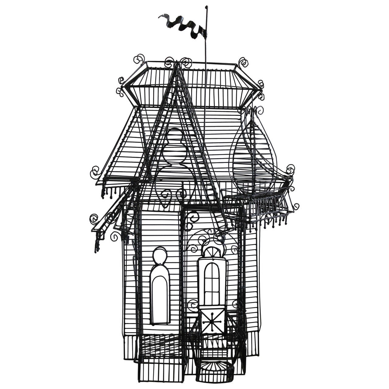 wire sculpture of victorian house by guy pullen at 1stdibs. Black Bedroom Furniture Sets. Home Design Ideas