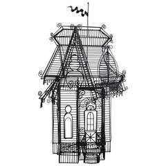 Wire Sculpture of Victorian House by Guy Pullen