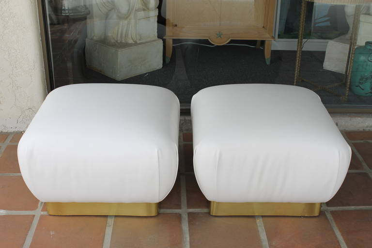 Pair of White Leather Ottomans by Marge Carson For Sale at 1stdibs – Carson Chair