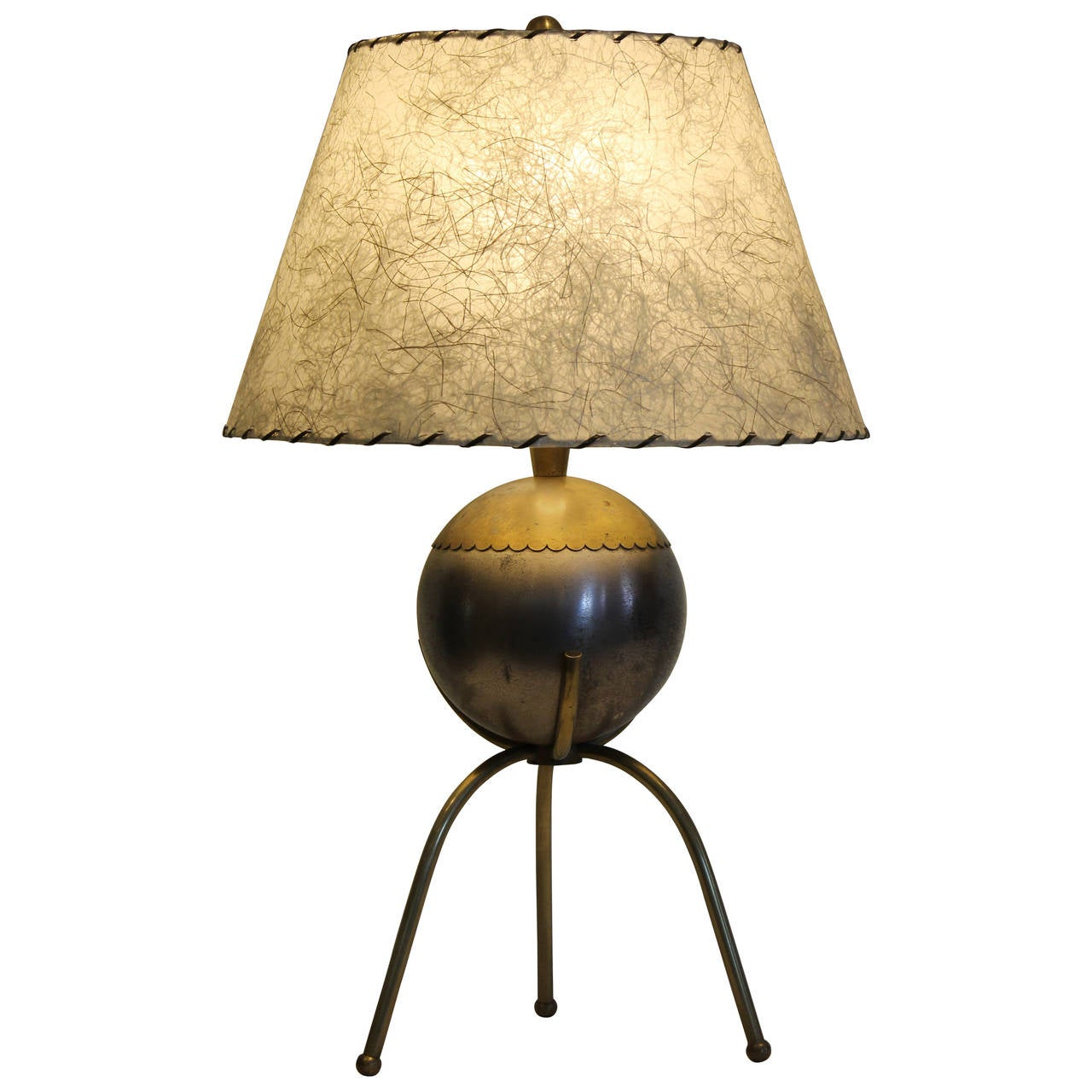 ball and tripod table lamp with original shade at 1stdibs