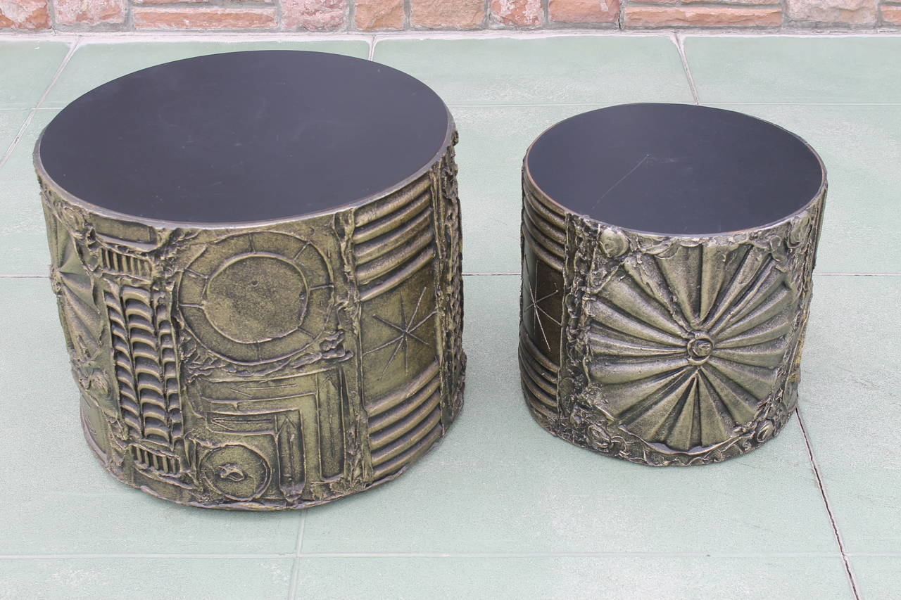 Small adrian pearsall brutalist drum side table at 1stdibs for Drum side table
