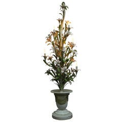 Hollywood Regency Italian Metal Daylilies Floor Lamp