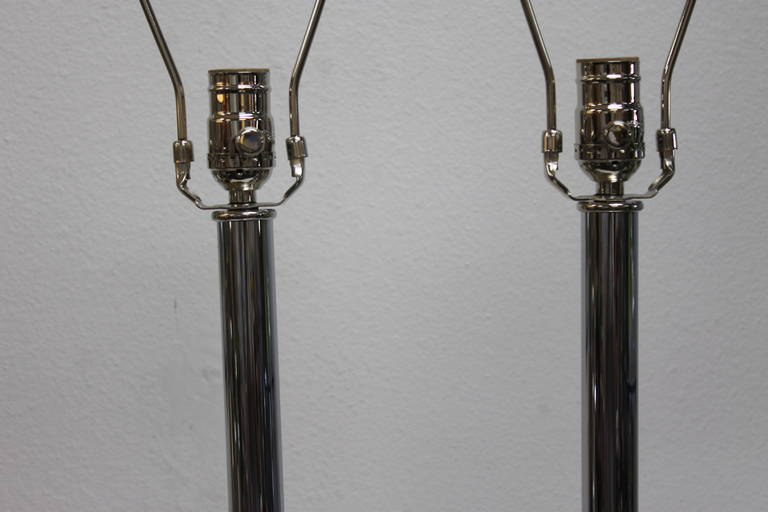 Chrome Lamps by Stiffel Lamp Co. In Excellent Condition For Sale In Palm Springs, CA