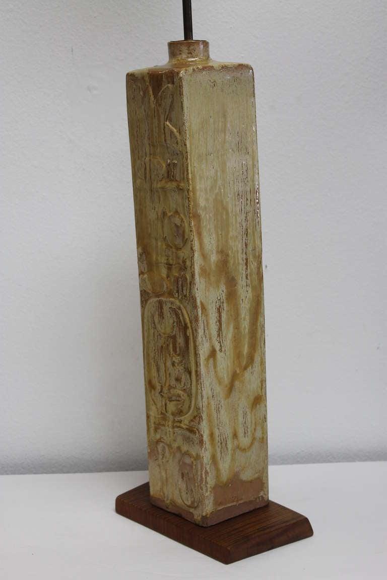 ceramic lamp on wood base for sale at 1stdibs. Black Bedroom Furniture Sets. Home Design Ideas