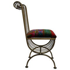 Metal Chair with Jack Lenor Larsen Fabric