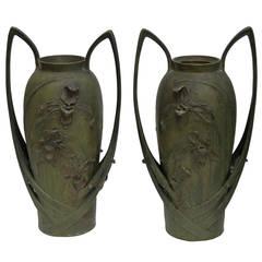 Pair of Art Nouveau Iris Vases by Blanche Poccard de Saintilau, 1902