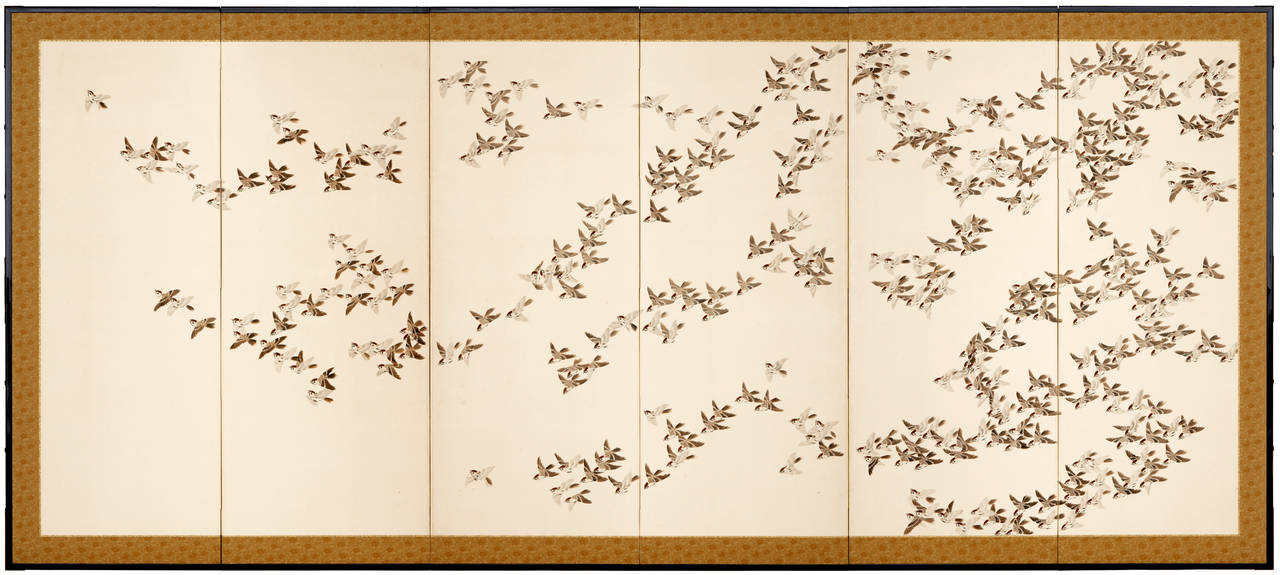 Showa Pair of Six-Panel Screens with One Thousand Birds Painting For Sale