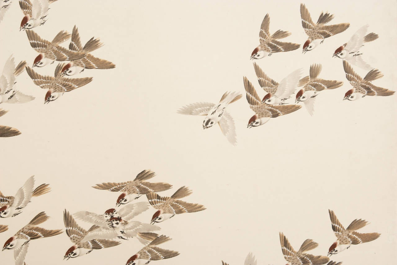 Pair of Six-Panel Screens with One Thousand Birds Painting In Excellent Condition For Sale In New York, NY