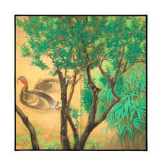 Turkeys by Bamboo and Blooming Tree Painting