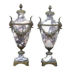 A Pair of Marble Urns with Bronze Mounts