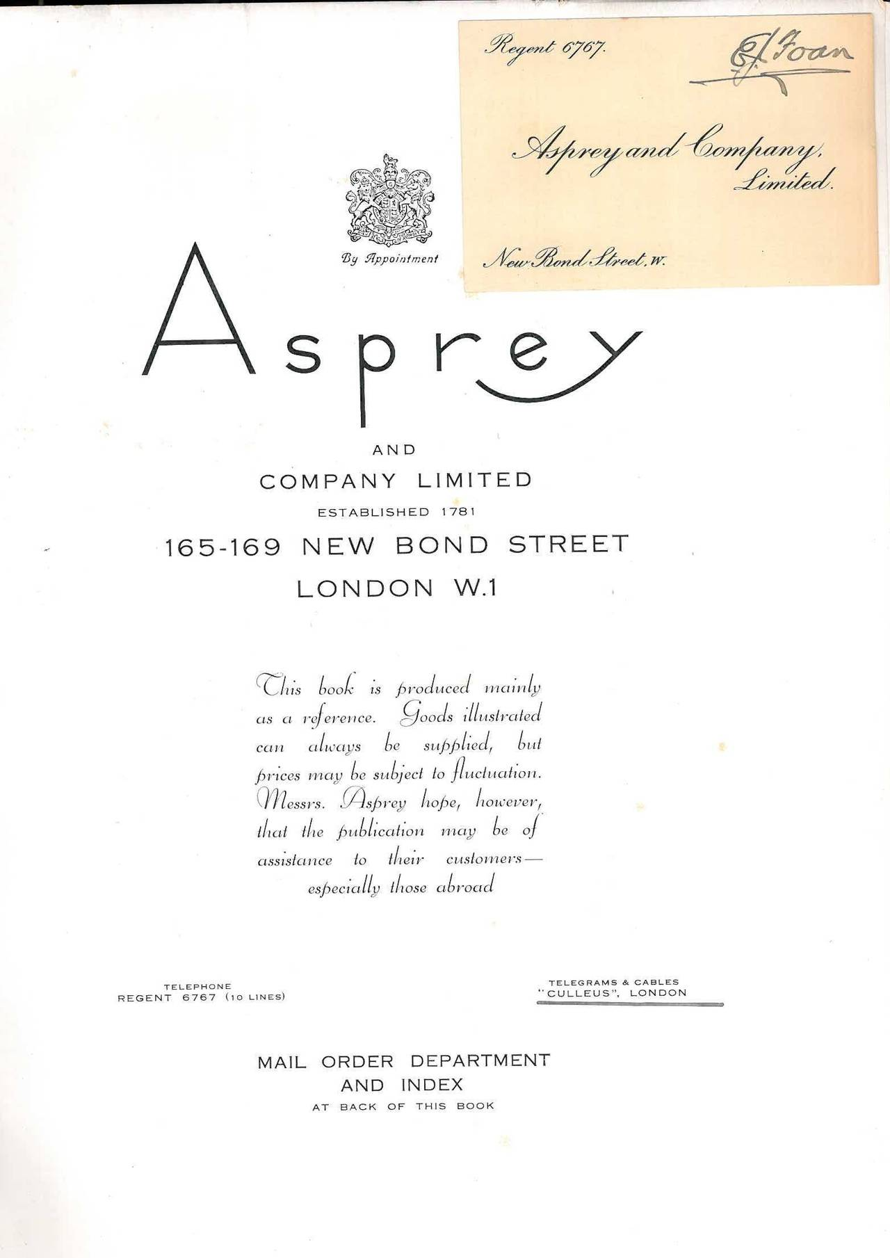 This is the luxury edition of Asprey and Company Limited Mail Order Catalogue from around 1930, with an imitation crocodile skin cover and velum spine. 205 pages (43 of which are in colour) which are fully illustrated with Art Deco styled items