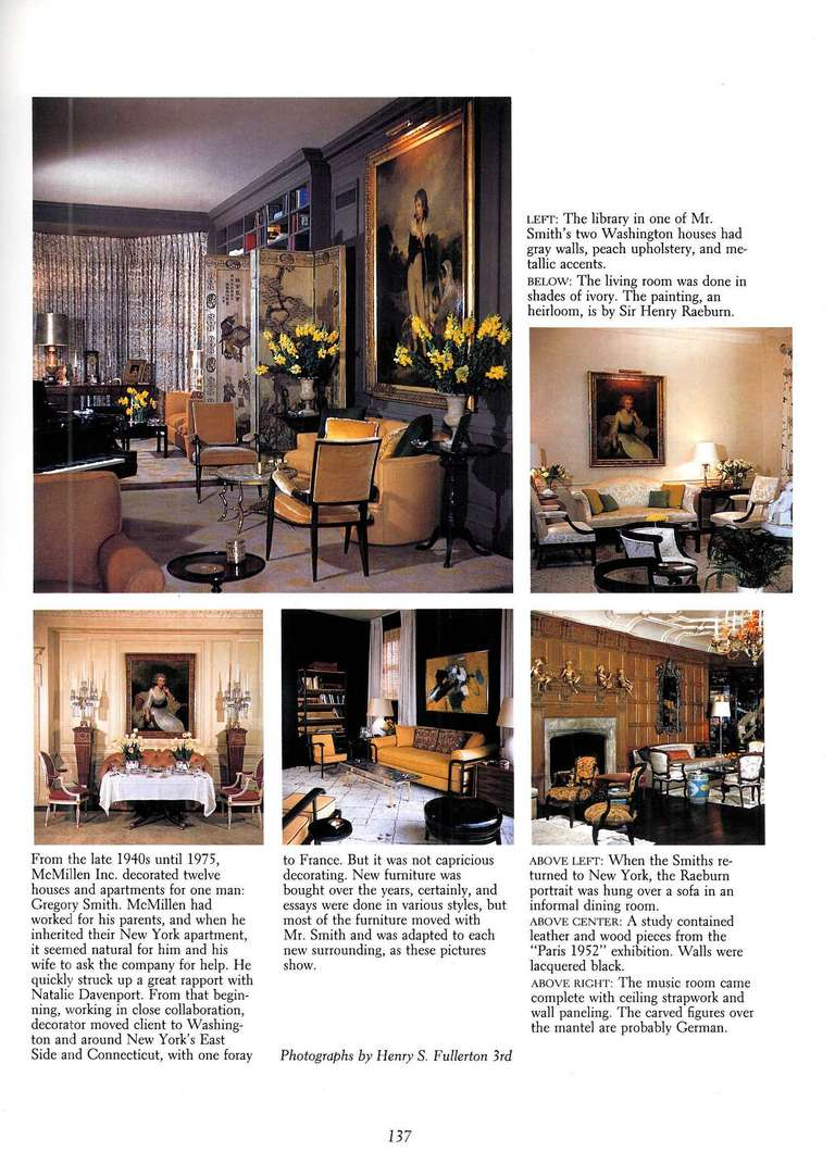 Sixty Years of Interior Design The World of Mcmillen For Sale at