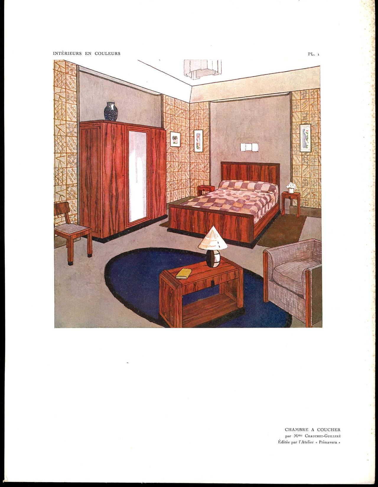 Published in 1926 this is a hard covered folio with 50 beautiful colour plates showing room interior designs by some of the great names from the Art Deco period who exhibited at the famous Paris Exposition of 1925. Plates includes a Bedroom by