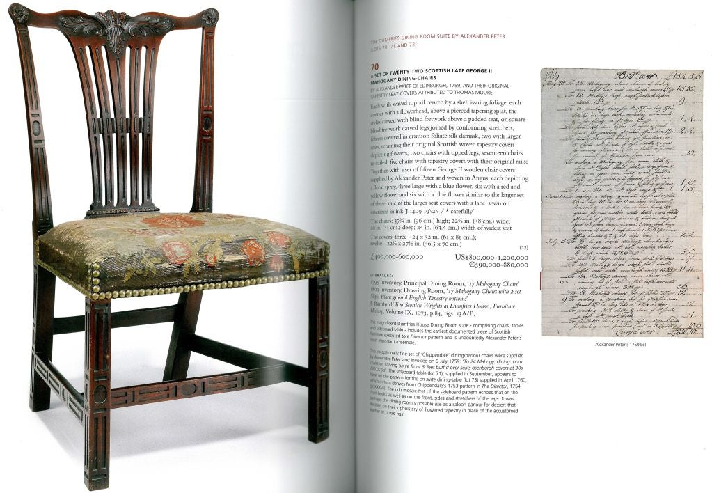 This 2 volume sale catalogue was prepared by Christie's to dispose of Dumfries House and its magnificent contents, a large portion of which was important furniture by Thomas Chippendale. The sale was halted at the last moment as a charitable trust