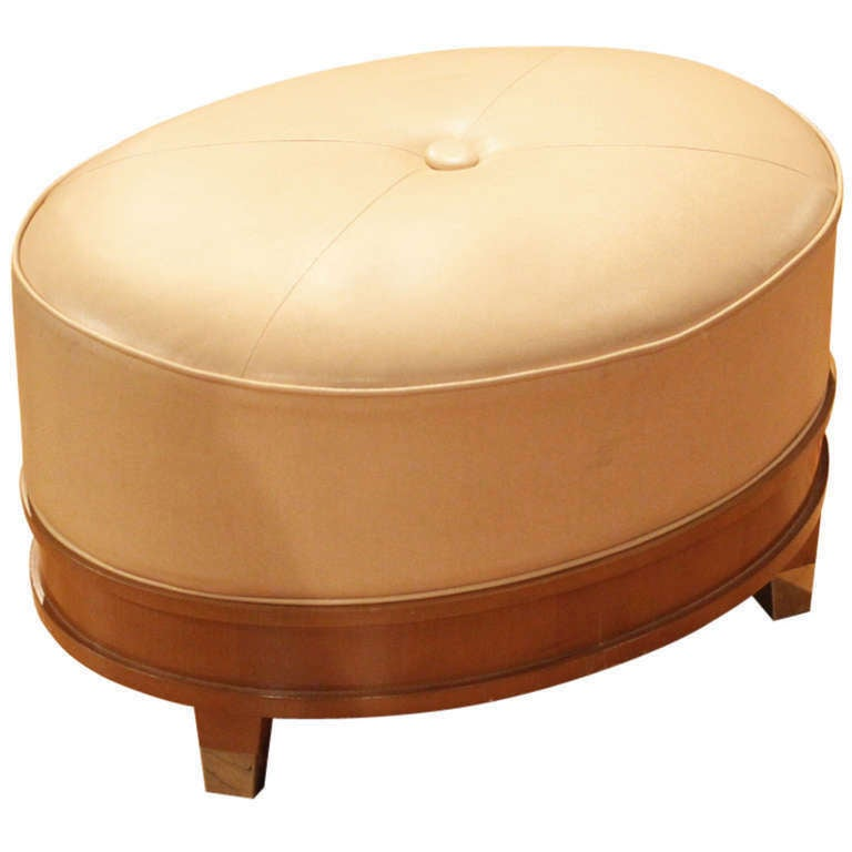 French leather ottoman with wood base at stdibs