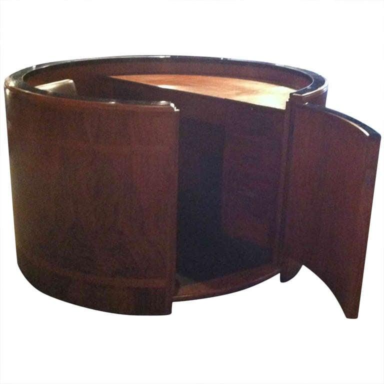 Circular Walnut Reception Desk at 1stdibs