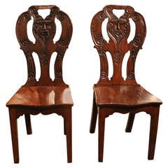 Pair Of Jacobean Hall Chairs With Shaped Seats,Tapered Legs,Pierced Carved Back