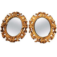 Pair Of Italian Roccoco Style Mirrors With Original Gilt & Plates From Florence