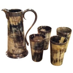 Horn Pitcher and Tumblers from Switzerland