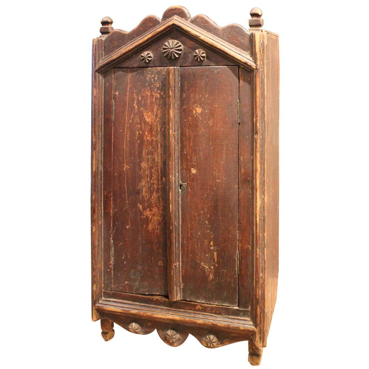 english tramp art armoire at 1stdibs. Black Bedroom Furniture Sets. Home Design Ideas