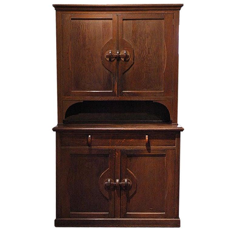English arts and crafts oak cabinet at 1stdibs for Arts and crafts storage cabinet