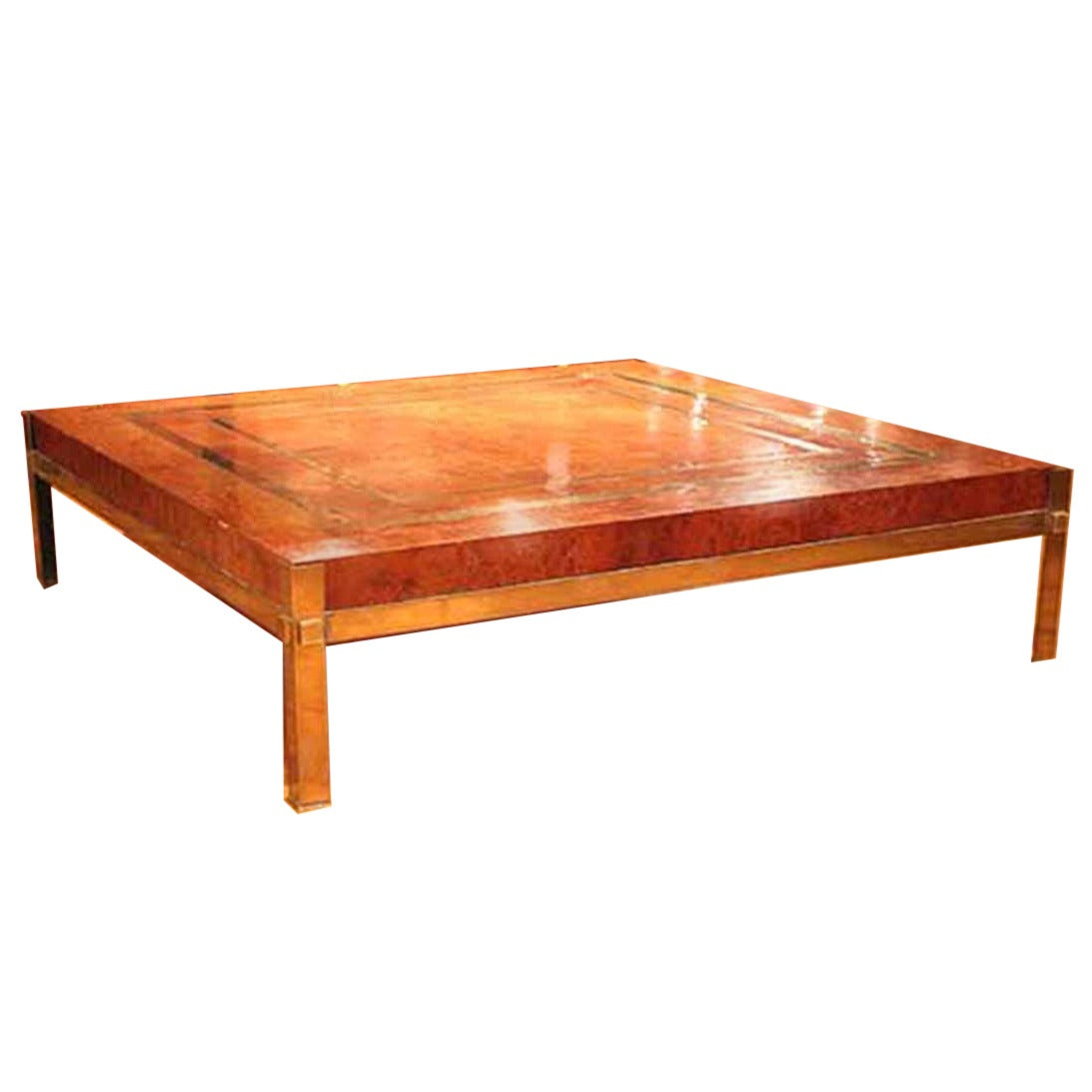 French large walnut burl and brass cocktail table for sale for Cocktail tables