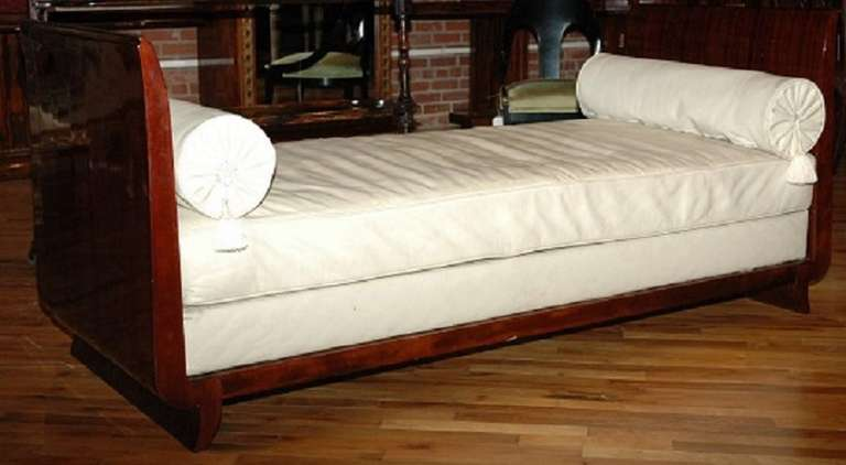 French, Daybed Made with Macassar Wood, Leather Cushion and Two Bolsters 2