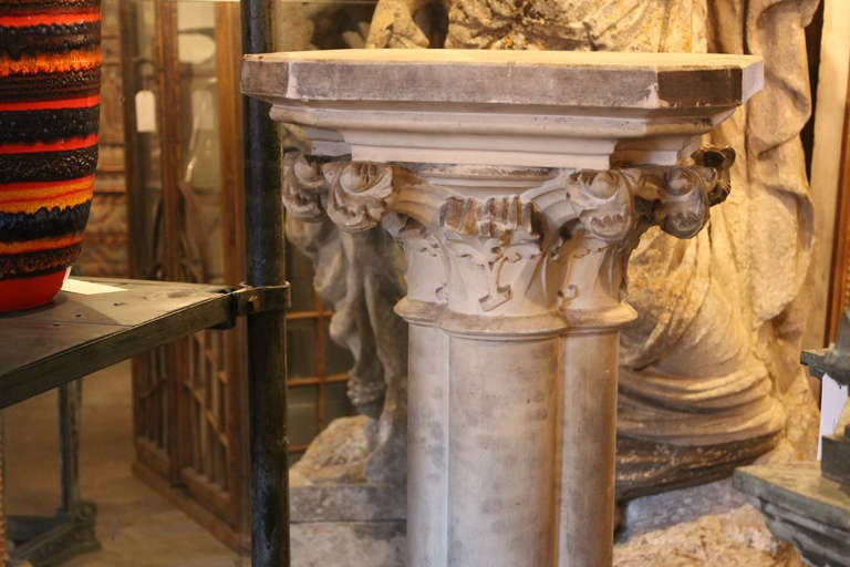 Italian Plaster Pedestal With Carved Accents At 1stdibs
