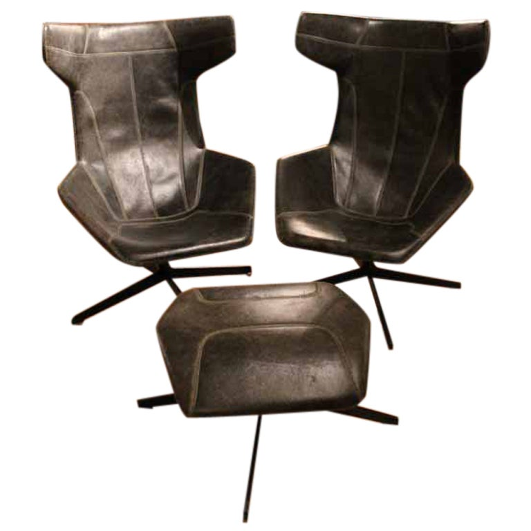 Pair of italian leather armchairs and ottoman at 1stdibs