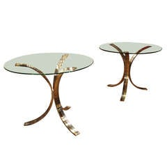 Pair Of French Brass & Glass Tables