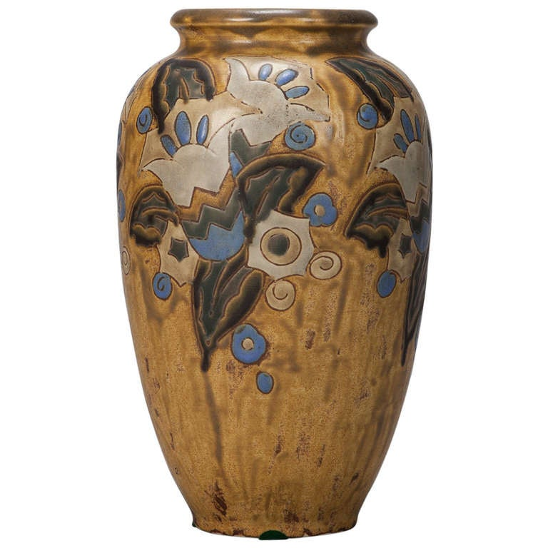 Boch Blue and Mustard Art Deco Vase Designed by Charles Catteau For Sale