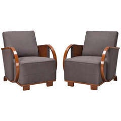 Pair Upholstered Art Deco Chairs with Bentwood Arms