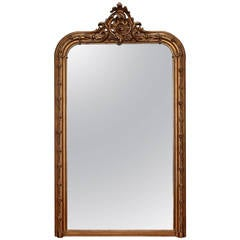 Large Gilt Wood Louis Philippe Mirror with Crown and Rose Detailing