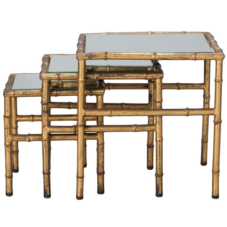 Set Of Three Faux Bamboo Gilt Metal Nesting Tables For Sale