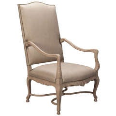 Tall French Armchair with Carved and Painted Frame