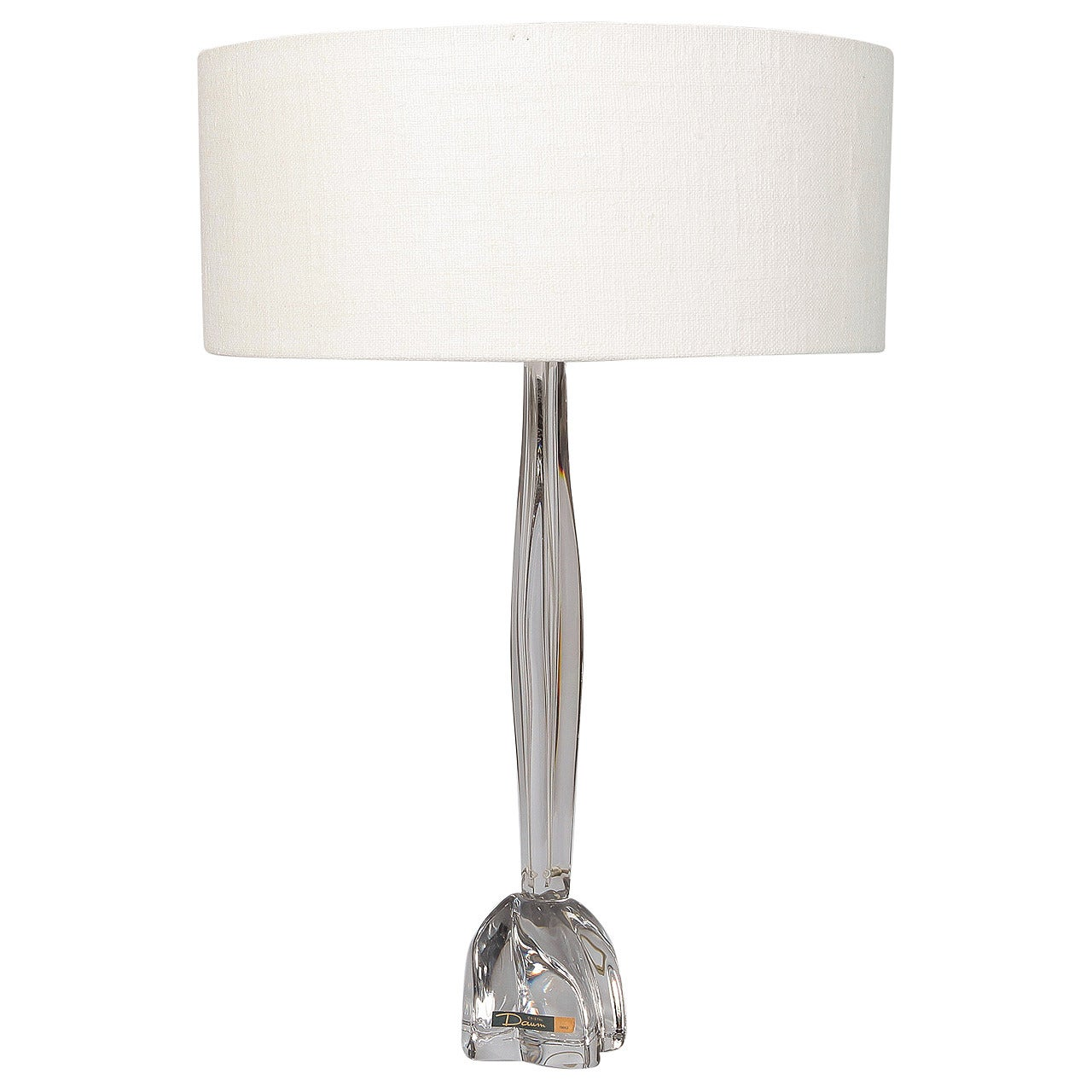 Tall Midcentury Daum Clear Glass Table Lamp With Shade At 1stdibs