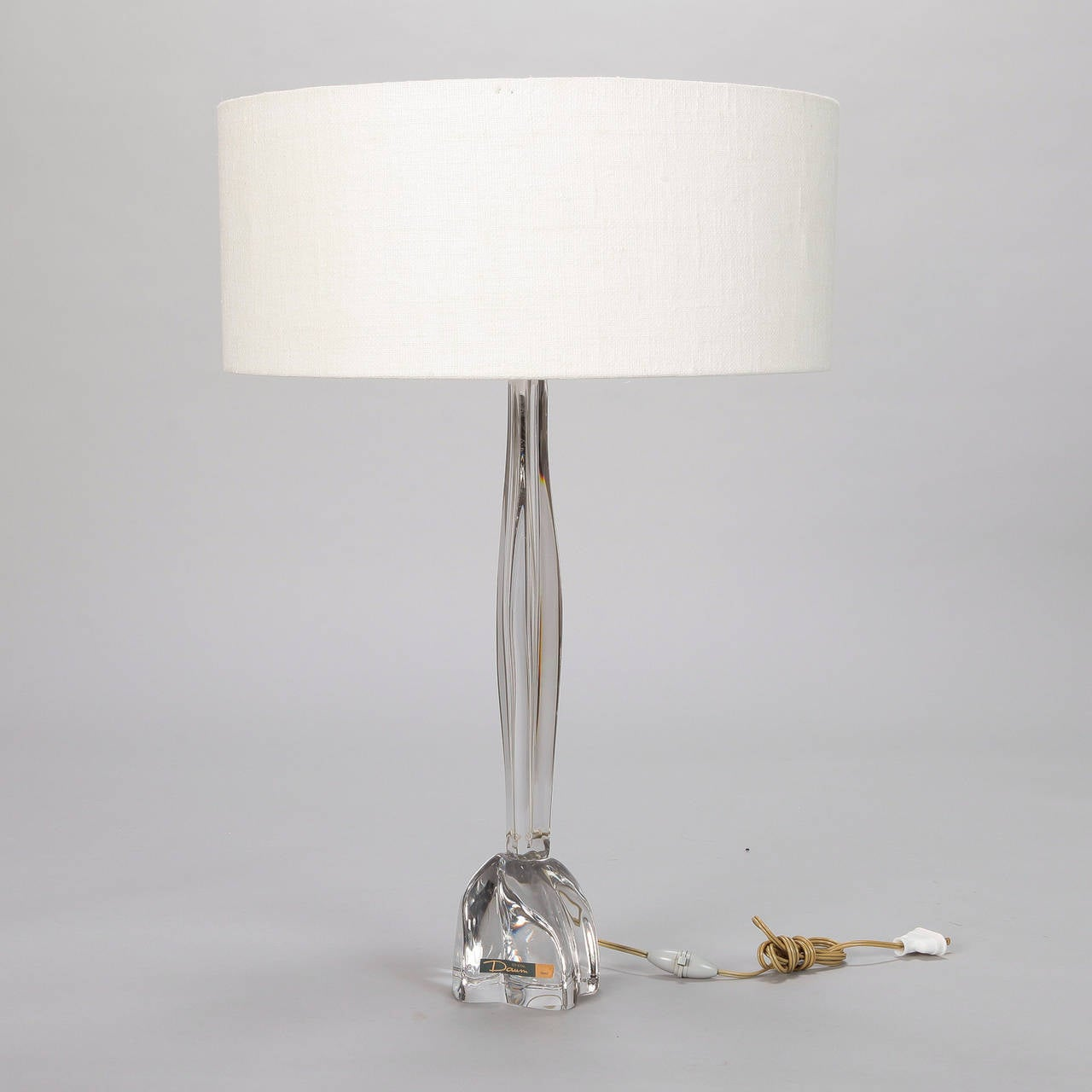 Tall Midcentury Daum Clear Glass Table Lamp With Shade For