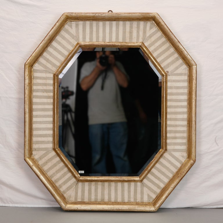 Italian Beveled Mirror With Eight Sided Gilded And Striped