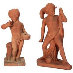 Pair French Terra Cotta Garden Statues of Children