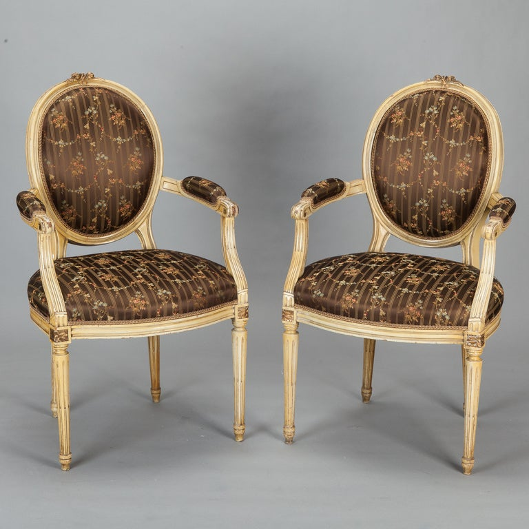 A Pair Of Period French Chairs With Missoni Fabric At 1stdibs: Pair Circa 1900s French Arm Chairs Upholstered In Silk