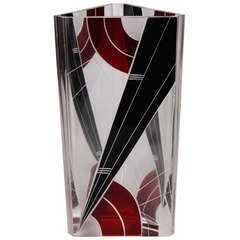 Karl Palda Black and Red Triangular Vase