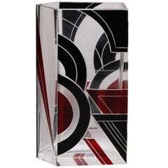 Five Sided Red and Black Karl Palda Glass Vase