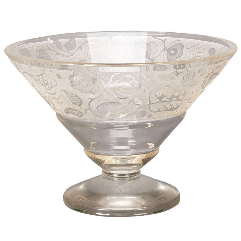 large deco etched glass pedestal bowl for sale at 1stdibs