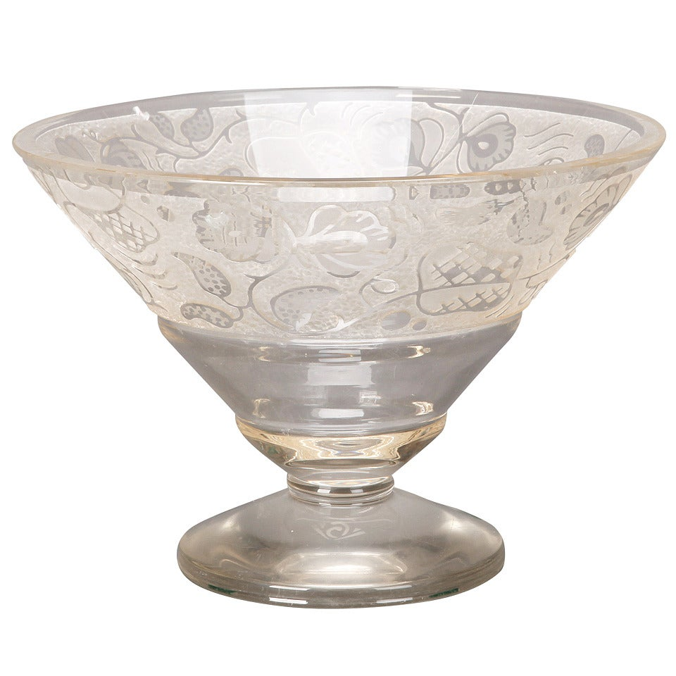 Large Art Deco Etched Glass Pedestal Bowl